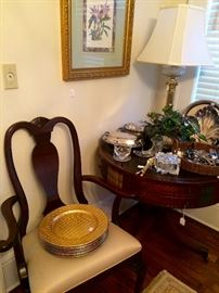 We have two of these wonderful mahogany arm chairs and four side chairs, plus these fabulous estate finds throughout the house.
