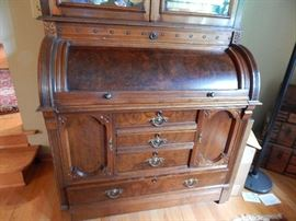 Antique Walnut Cylinder Secretary Desk Bookcase
