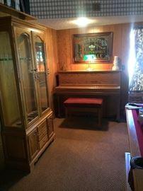 Young Chang Professional Upright Piano & Gun Display Cabinet