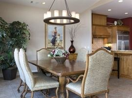 Emanuel Morez Palladio Dining Table w/ Leaf and Emanuel Morwz Galina Chairs, (2 Host and 6 Side Chairs)