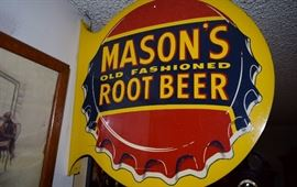 Great Masons bottle cap root beer sign
