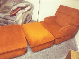 Set of (2) matching Lounge Chairs with Ottamans