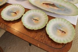 Limoges handpainted fish plates, each plate is different!