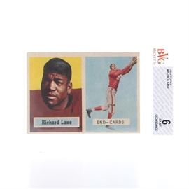 """1957 Topps Graded Dick Lane Card: A 1957 Topps graded Dick Lane card. This 1957 #85 Topps football card depicts Dick """"Night Train"""" Lane of the Chicago Cardinals. The card is presented in a plastic sleeve graded by Beckett Grading Services with a score of 6."""