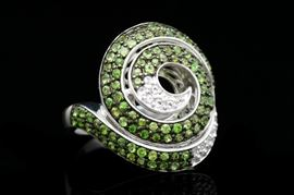 Sterling Silver, Chrome Diopside and White Topaz Spiral Ring