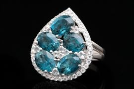Robert Manse Sterling Silver, London Blue, and White Topaz Ring