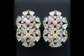 Sterling Silver and Multi-Colored Cubic Zirconia Flower Earrings