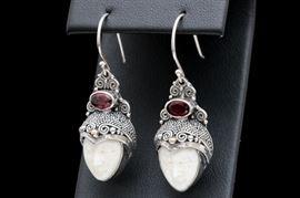 Sterling Silver, 18K Gold, Bone Face and Garnet Dangle Earrings