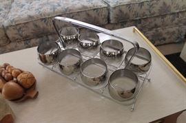 Vintage MCM Dororthy Thorpe rocks glasses set w/ stand