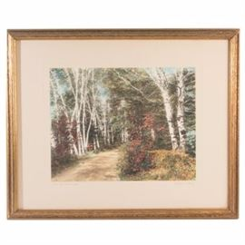 "Wallace Nutting Hand Tinted Photogravure ""Into the Birchwood!"": A hand-tinted photogravure by well listed photographer Wallace Nutting (1861 – 1941). The piece is titled Into the Birchwood! and depicts a forest trail passing through birch trees. The piece is titled and signed by the artist and is mounted to a cream colored mat. The piece rests in a narrow gold tone frame. A wire is affixed to the verso for hanging."