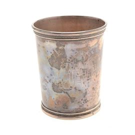 "Reed & Barton Sterling Silver Julep Cup: A Reed & Barton sterling silver mint julep cup. The cup features a molded rim and base with fine beaded detailing, having an intertwined engraved initial monogram. Marked ""RMN Reed & Barton X253 Sterling"" to the base. The sterling silver content weighs approximately 4.835 ozt."