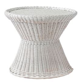 Wicker Accent Table: A white wicker accent table or side table. It has an hourglass shape, with a narrower waist and a wider top and base. Unmarked.