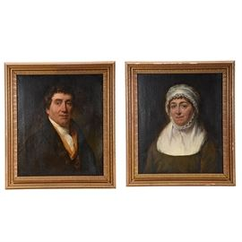 Hutchifson Signed Original 1813 Oil Portraits on Canvas: A pair of antique 1813 original oil portrait paintings on canvas, each signed and dated on a label to the verso by artist Hutchifson. The individuals depicted in the paintings are Samuel Hallett (1749 – 1825) and Sarah (Raymond) Hallett (1752 – 1833), who married in 1774. Their portraits are skillfully executed with rich, warm pigments rendering their luminous skintones against dark, ambiguous backdrops. The couple wear traditional formal clothing of the period. The painting surfaces are not signed by the artist; each verso contains two labels with information about the individuals depicted, dates, and the name of the artist. Each painting is mounted in an antique beveled wood frame with cast gesso foliate veneer with gilt finishing, each equipped to hang.