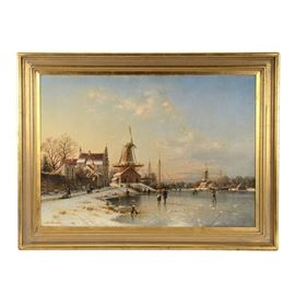 Johannes Duntze Original 1894 Dutch Landscape Oil on Canvas: An antique original 1894 oil painting on canvas by well-listed Dutch landscape painter Johannes Bertholomaus Duntze (Netherlands/Germany; 1823 – 1895). The image depicts a stunning Dutch winter landscape in which inhabitants of a small town walk along the frozen lake and snow-covered streets as they go about their daily business. A windmill rises above the entire scene, resting against beautifully painted clouds in a soft, warmly lit blue sky. Artist signature is signed and dated in paint to the lower left. This piece is mounted in a carved beveled wood frame, equipped to hang. An original antique label, inscribed in Dutch likely by the artist, contains illegible details about the painting. A Closson's Gallery sticker is also attached to the verso. Details of restoration work by Indian Hill Gallery in Cincinnati are attached to the verso.