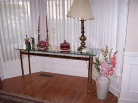 Brass sofa table, Ruby Glass accessories