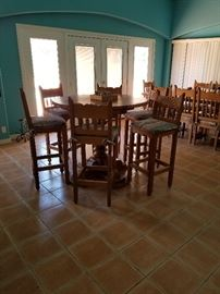 Custom high top table with 6 chairs. Southwest style.