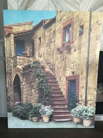 Tuscan outdoor painted canvas