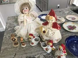 "Original Hull Pottery Little Red Riding Hood Mustard jar, cookie jar, sugar and creamer, Hilda 17"" porcelain bisque doll QE137"