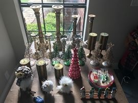 Candle sticks, candles, owls, Christmas plates