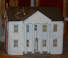 NOT A REAL HOUSE, BUT CLOSE.  LIGHTED FURNISHED DOLL HOUSE