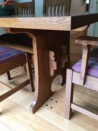 """Stickley Table Base, 1.5 """" thick table top w/ 6 Chairs,   ( 2 with arms)"""