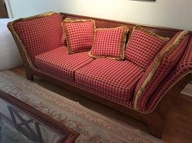 Biedermeier Fan Armed Sofa, Custom Covered with fringe detailing, Mint condition !