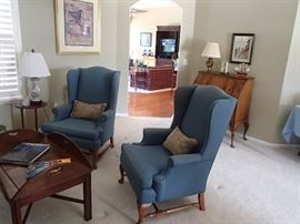 Blue wing back sitting chairs