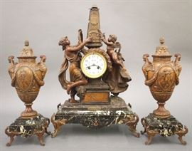F Marti French 3 pc Bronze and Marble clock set