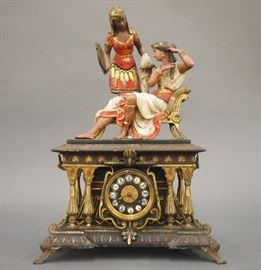 H & F Paris Egyptian Revival iron mantle clock with original polychrome paint