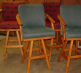 6 Upholstered Swivel Bar Chairs - 3 Teal, 3 Dark Red (will sell separately)