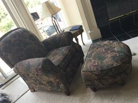 Reclining overstuffed chair with Ottomen