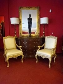 PAIR ROCOCO GILT WOOD ARMCHAIRS BY GINA B.