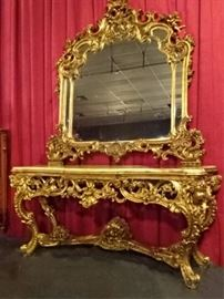 ROCOCO GILTWOOD AND ONYX CONSOLE AND MIRROR