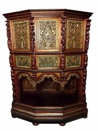 ANTIQUE EUROPEAN GOTHIC CARVED WOOD CABINET