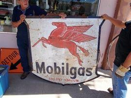 1951 Mobil Oil Pegasus 2-Sided Porcelain Sign