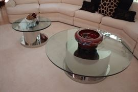 Pair Contemporary Glass and Chrome Round Coffee Tables