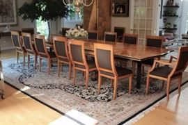 Burl Wood Dining Table with 18 Chairs