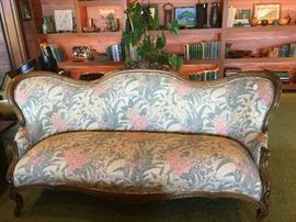 VICTORIAN WALNUT CARVED SOFA WITH GORGEOUS HAWAIIAN FABRIC, ON BACK TOO.