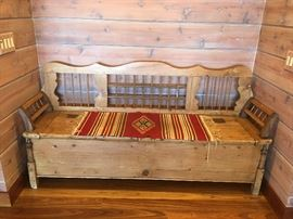 ANTIQUE PINE BENCH WITH STORAGE.