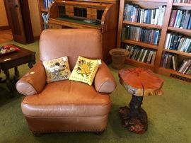 LEATHER MORRIS CHAIR, OTTOMAN, & CARVED TREE TABLE