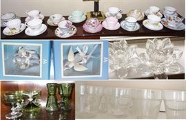 Tea Cup collection, vintage Ohio glass, pretty candle holders, vintage punch cups