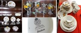 Evesham china and crystal. Small dinner set with many serving pieces