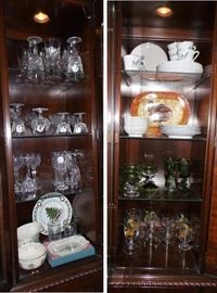 Waterford Linsmore, Bluebonnet luncheon set, Evesham glasses