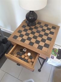 Wood Checker Game Board Side Table Piece with drawer. Small table lamp.