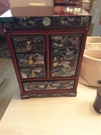 Tall Mother of Pearl Jewelry Box, bought in Korea in 1991.