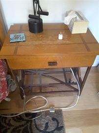 Small matching Oak end/side table/might stand. There are 2 of these. Needs refinishing. 1992 from Macy's.