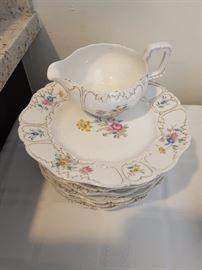 Limoge Dessert Set of Dishes with Milk Pitcher. Flower Pattern.