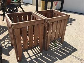 outdoor wood flower pots