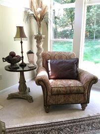 Designer chair by Drexel Heritage. Stetson leather pillow.