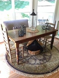 Farmhouse table, Settee, ladder back chairs. All great condition!
